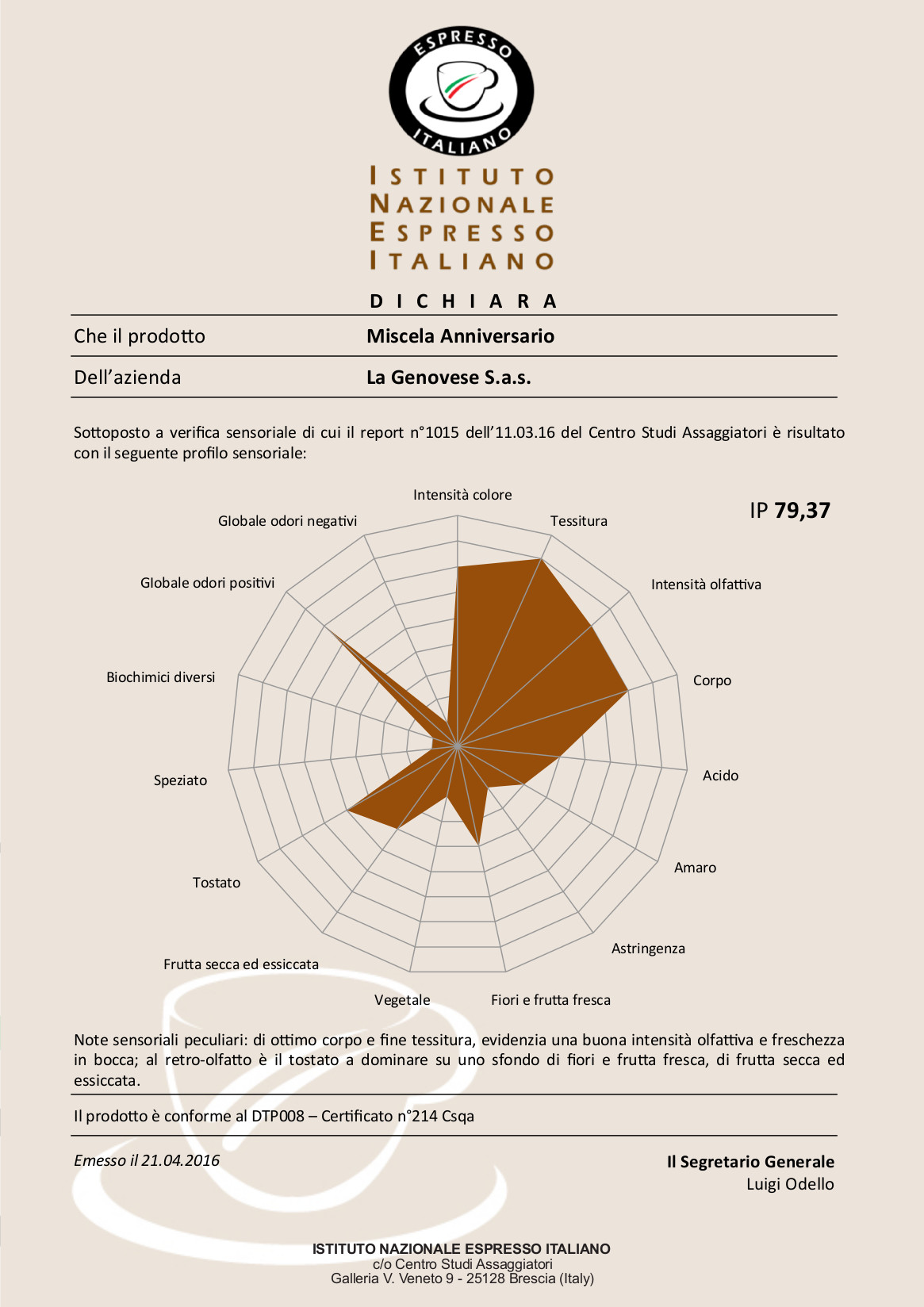 Certificato Inei La Genovese Miscela Anniversario